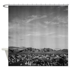 Ansel Adams Distant View of Mountains Shower Curta