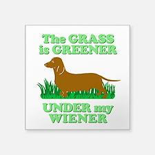 Grass Is Greener Under My Wiener! Square Sticker 3