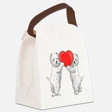 Westies with Heart Canvas Lunch Bag