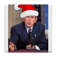 George Bush Christmas Tile Coaster