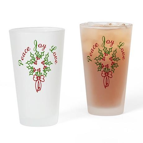 Peace Love Joy Drinking Glass