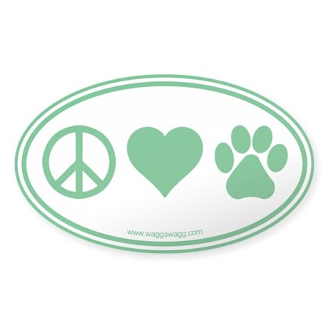Peace Love Paws Sticker (Oval)