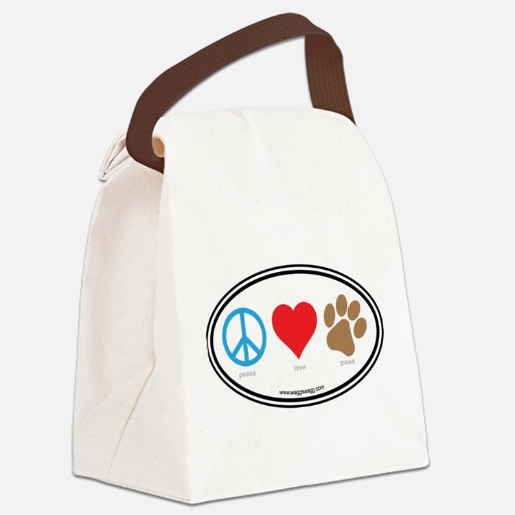 Peace Love Paws Canvas Lunch Bag