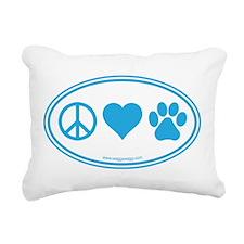 Peace Love Paws Rectangular Canvas Pillow