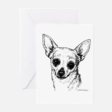 square bw chihuahua Greeting Cards