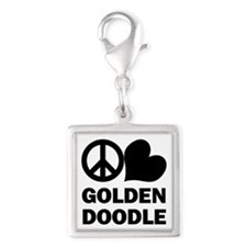 Peace Love Goldendoodle Silver Square Charm