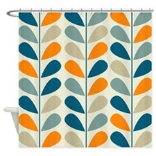 Retro Pattern Blue Orange Shower Curtains Retro Pattern Blue Orange Fabric