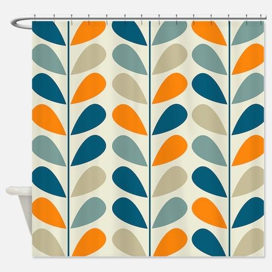 Retro Pattern Shower Curtain - Retro Pattern Blue Orange Shower Curtains Retro Pattern Blue