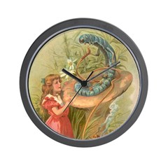 Alice Meets the Caterpillar Wall Clock