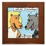 Lion and Wolf Framed Tile