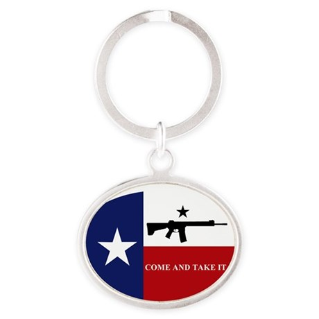 Come and Take It Oval Keychain