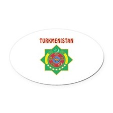 Turkmenistan Coat of arms Oval Car Magnet