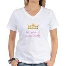"""This Princess Saves Herself"" Women's Pink T-Shirt"