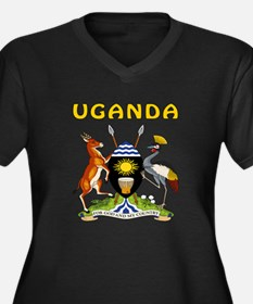 Uganda Coat of arms Women's Plus Size V-Neck Dark