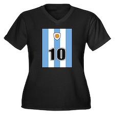 Argentina soccer Women's Plus Size V-Neck Dark T-S