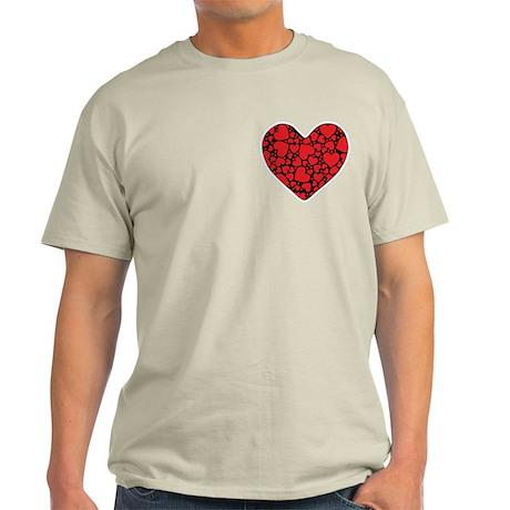 Red Hearts on Black P Light T-Shirt