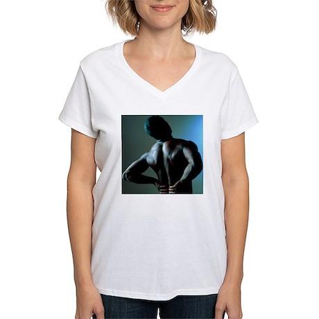 Back pain women 39 s v neck t shirt back pain shirt for V neck back shirt