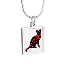 Cat Love Silver Square Necklace