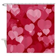 Red Valentine Hearts Shower Curtain