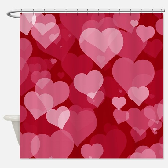 Red Valentine Hearts Shower Curtain