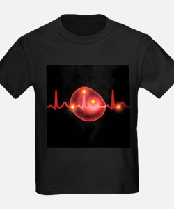 ECG and red blood cell - Kid's Dark T-Shirt