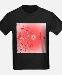 Red blood cells and ECG - Kid's Dark T-Shirt
