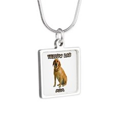 Yellow Lab Mom Silver Square Necklace