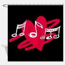 painted music notes love heart Shower Curtain