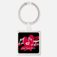 Personalized Musical notes love heart Square Keych