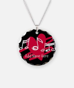 Personalized Musical notes love heart Necklace