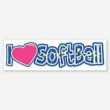 I Love Softball Sticker (Bumper)