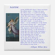 Poe Poem Alone Tile Coaster
