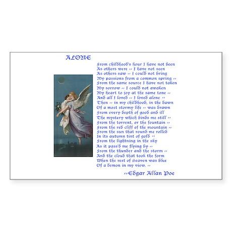 Poe Poem Alone Rectangle Sticker