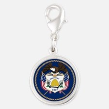 Great Seal of Utah Silver Round Charm