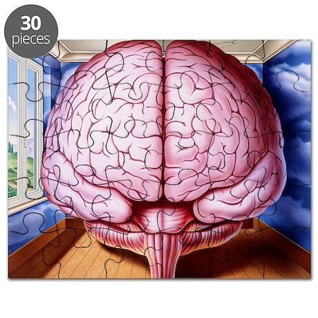 Artwork of human brain enclosed in dream-like room