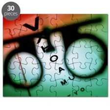 Ophthalmology test frames and eye chart - Puzzle