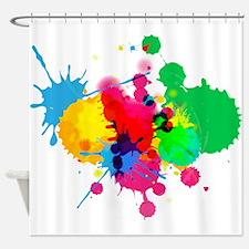 Colorful Paint Ball Fight Splash Shower Curtain Sh