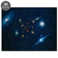 Artwork of various galaxies showing red shift - Pu