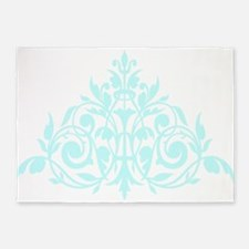 blue green damask design 5'x7'Area Rug