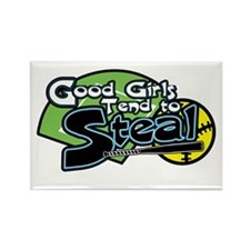 Softball Good Girls Steal Rectangle Magnet