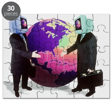 Businessmen with computer heads - Puzzle