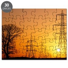 Pylons and power lines at sunset - Puzzle