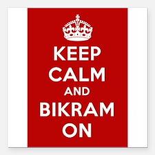 "Keep Calm and Bikram On Square Car Magnet 3"" x 3"""