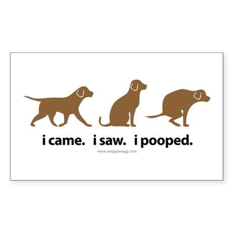 i Came. i Saw. i Pooped. Sticker (Rectangle)