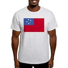 Samoan Flag 4 Ash Grey T-Shirt