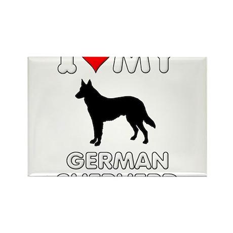 I Love My German Shepherd Gift Rectangle Magnet