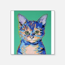 "small cat Square Sticker 3"" x 3"""