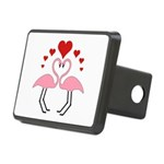 Flamingo Hearts Rectangular Hitch Cover