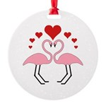 Flamingo Hearts Round Ornament