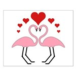 Flamingo Hearts Small Poster